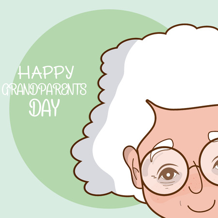 Happy grandparents day card with grandmother cartoon vector illustration graphic design  イラスト・ベクター素材