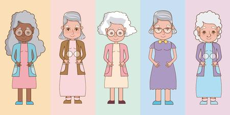 Set of cute grandmothers cartoons vector illustration graphic design
