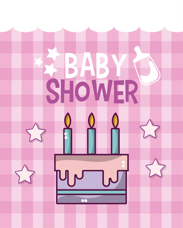 Baby shower cute card with cartoons vector illustration graphic design Vectores