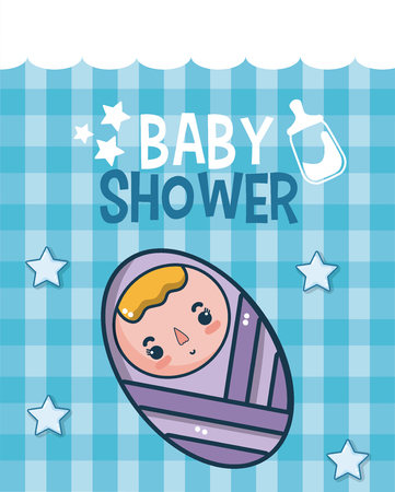 Baby shower cute card with cartoons vector illustration graphic design Illustration