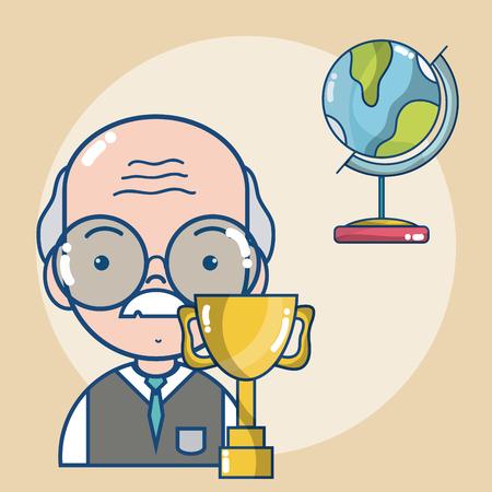 Man school teacher cartoon vector illustration graphic design