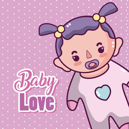 Carte d'amour de bébé avec dessin animé mignon vector illustration graphisme