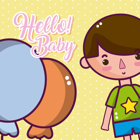 Hello baby cute and tender cartoons card vector illustration graphic design