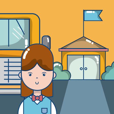 Girl student outside of school bus vector illustration graphic design Illustration