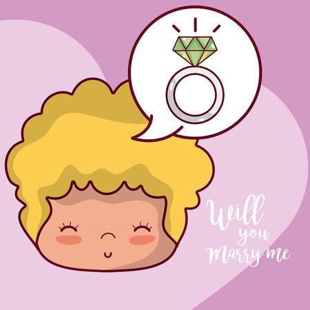 Will you marry me boyfriend wedding proposal card vector illustration graphic design Illustration