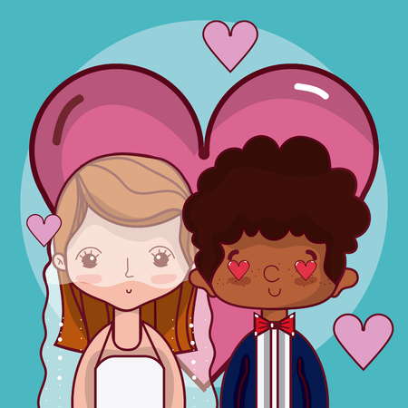 Beautiful wedding couple in love with hearts cartoon vector illustration graphic design Vectores