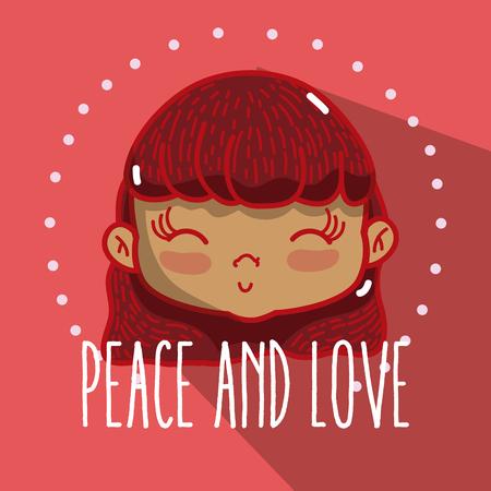 Peace and love cartoons Illusztráció