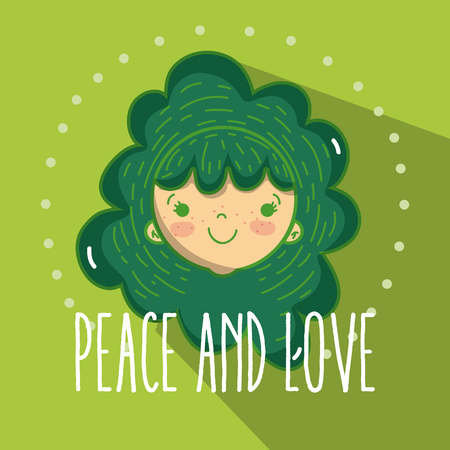 Peace and love cartoons Illustration