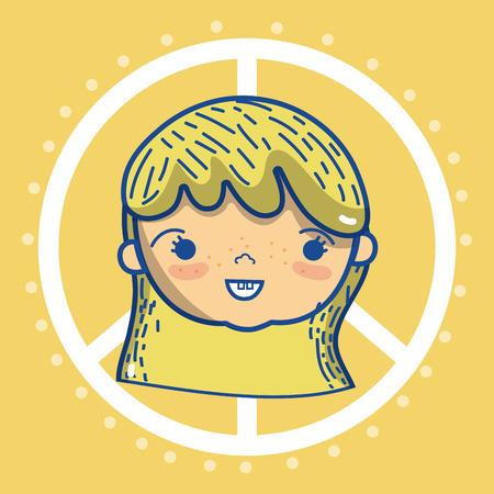 paz y niños de dibujos animados concepto