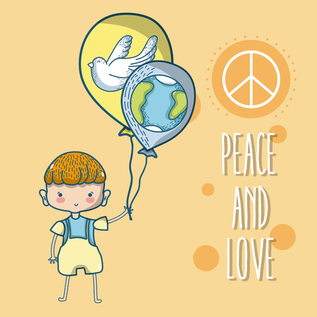 Peace and love cartoons Stock Vector - 102035206