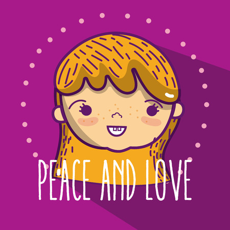 Peace and love childrens cute cartoons vector illustration graphic design Illustration