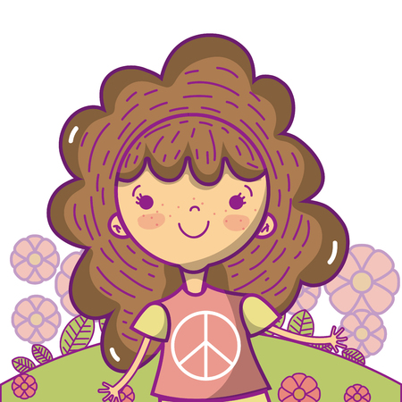 Peace and love children cute cartoons vector illustration graphic design Stock Vector - 102035090