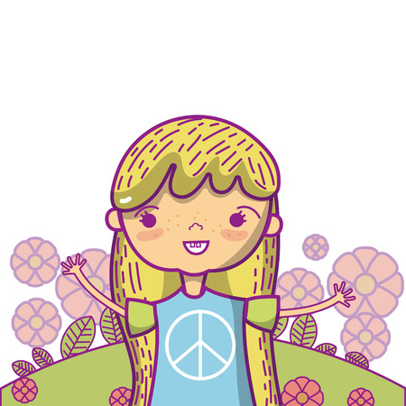 Peace and love children cute cartoons vector illustration graphic design Illustration