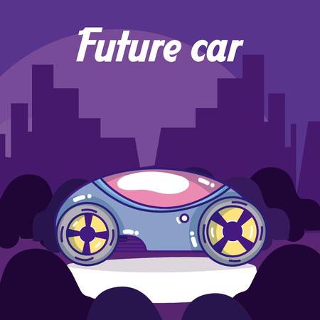Future car over cityscape silhouette vector illustration graphic design