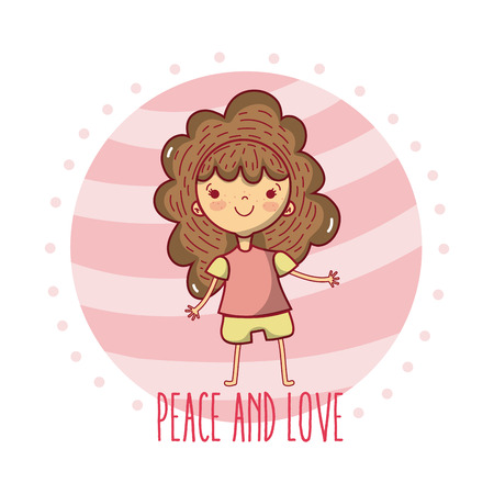 Peace and love children cute cartoons vector illustration graphic design Illustration