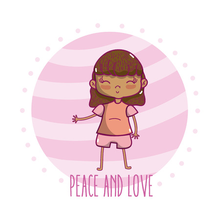 Peace and love children cute cartoons vector illustration graphic design Stock Vector - 102035211