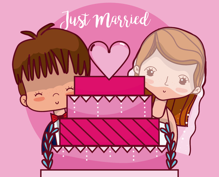 Wedding couple with cake just married card vector illustration graphic design
