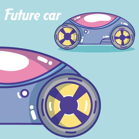Futuristics cars cartoons over colorful background vector illustration graphic design