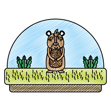 doodle bear cute animal in the countryside and plants vector illustration Vettoriali