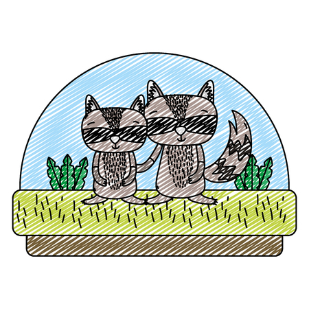doodle cute couple raccoon in the countryside and plants vector illustration