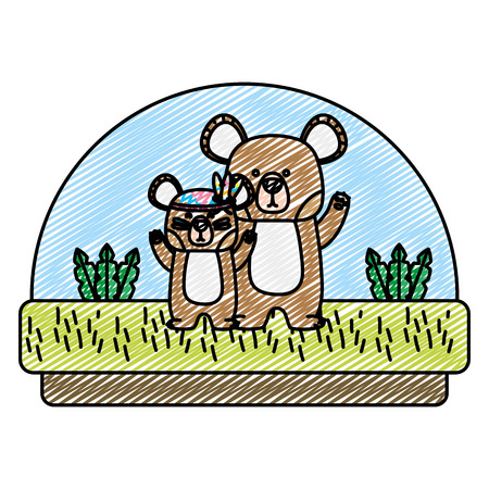 doodle cute bears animal togethers in the countryside vector illustration