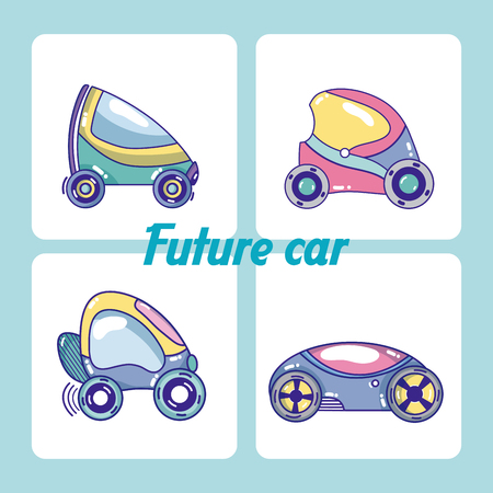 Set of future cars collection vector illustration graphic design