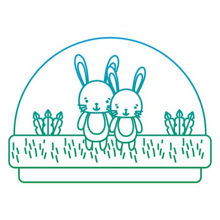 dégradé ligne couple lapin animal mignon dans l'illustration vectorielle de campagne