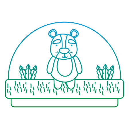 animal ours mignon ligne dégradée dans la campagne et les plantes vector illustration