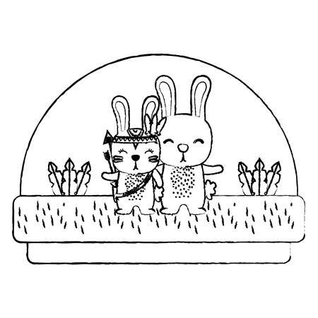 grunge couple rabbit animal together in the countryside vector illustration