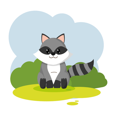 cute raccoon wild animal in the landscape Illustration
