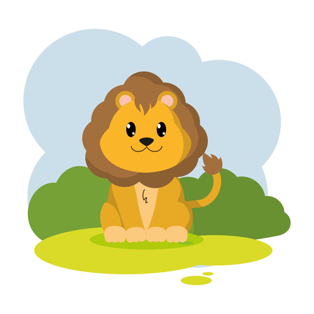 cute lion wild animal in the landscape vector illustration Illustration