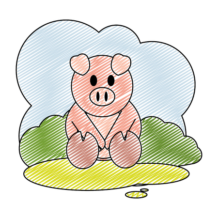 doodle cute pig farm animal in the landscape 일러스트