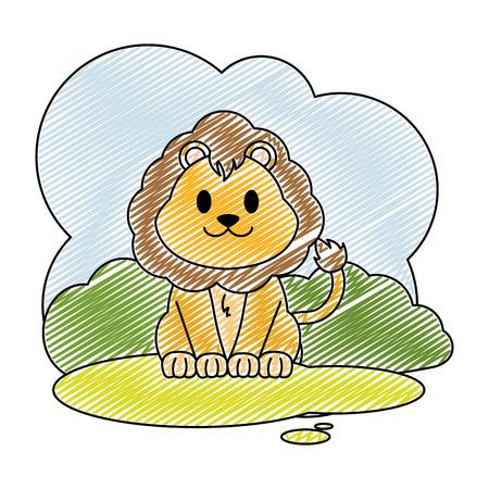 doodle cute lion wild animal in the landscape 일러스트