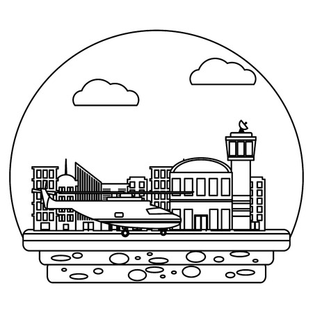 line airport place service with helicopter transportation vector illustration