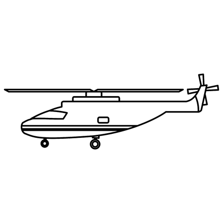 line helicopter transport service vehicle technology vector illustration