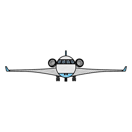 doodle front airplane transport vehicle with turbines vector illustration