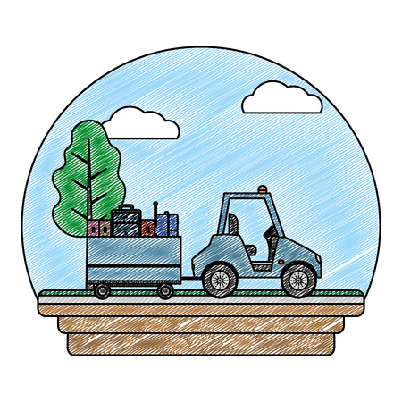 doodle vehicle towing luggage transport service vector illustration