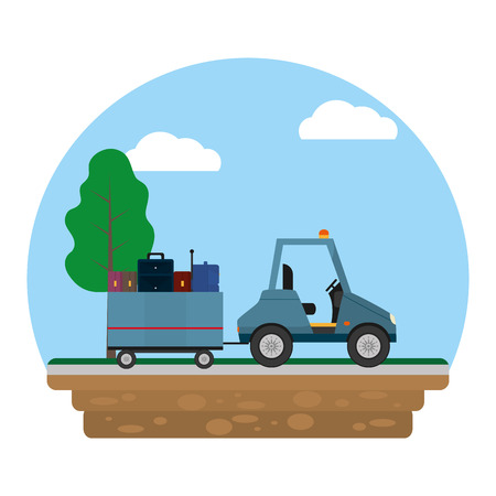 color vehicle towing luggage transport service vector illustration Ilustracja