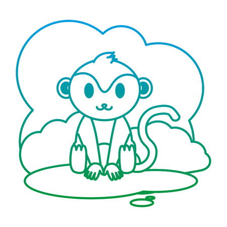 degraded line cute monkey wild animal in the landscape vector illustration