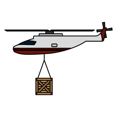 helicopter transport with wood box hanging vector illustration