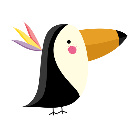 adorable toucan wild animal creature vector illustration
