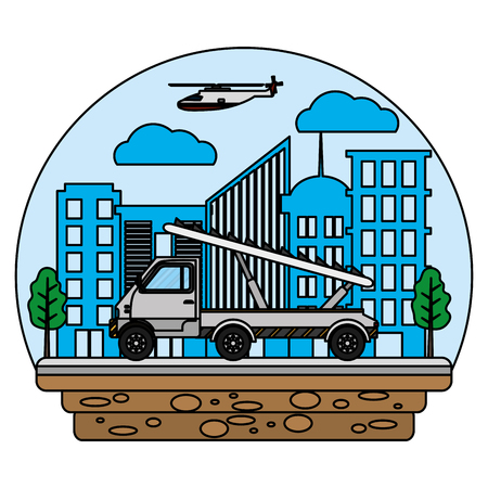 truck with airport stair and helicopter transport vector illustration