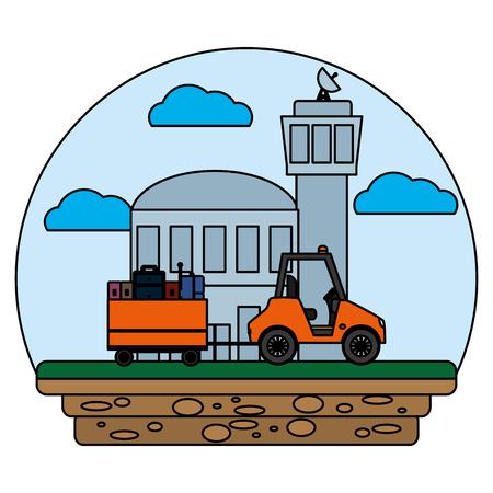 building and vehicle towing luggage service vector illustration