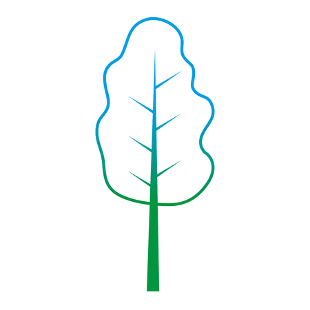 degraded line nature tree stalk with leaves branches vector illustration Illustration