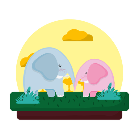 adorable elephant couple animal in the landscape vector illustration