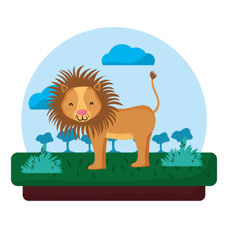 adorable lion wild animal in the landscape vector illustration