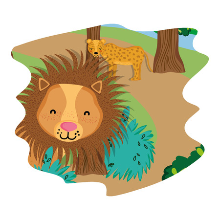 adorable leopard and lion wild animals in the forest vector illustration