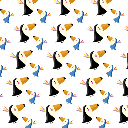 adorable toucans wild animal background vector illustration