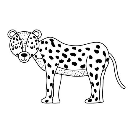 line adorable leopard wild animal creature vector illustration