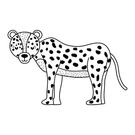 line adorable leopard wild animal creature vector illustration